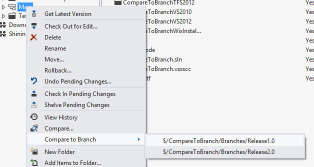 Compare to Branch Extension for Team Foundation Server